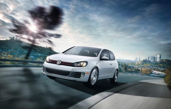 Picture white, speed, Volkswagen, Golf VI GTI