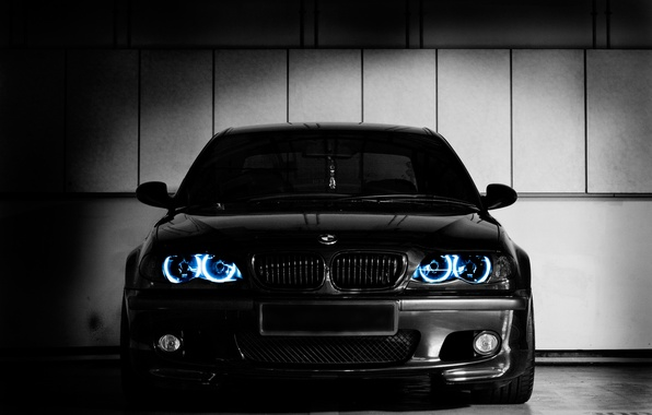 Picture light, blue, black, lights, BMW