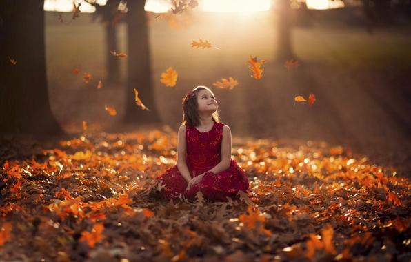 Picture autumn, leaves, dress, girl, bokeh