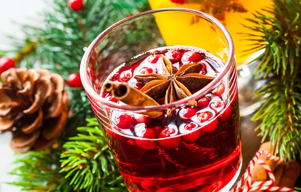 Picture winter, branches, berries, wine, spruce, sticks, New Year, Christmas, drink, cinnamon, bumps, holidays, spices, star …