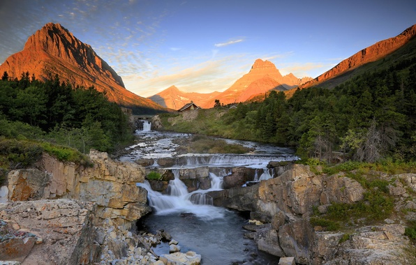 Picture sunset, mountains, nature, river