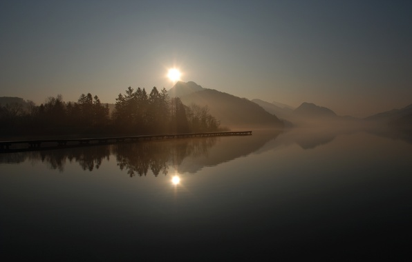 Picture the sun, trees, fog, lake, surface, reflection, sunrise, hills, Marina, morning, pier, pierce