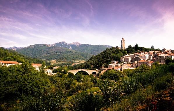 Picture the sky, mountains, bridge, vegetation, houses