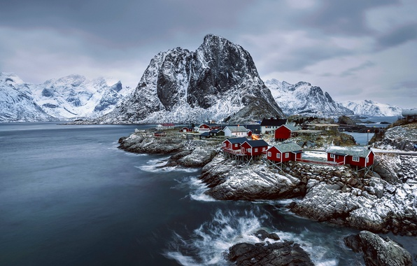 Picture winter, snow, mountains, Norway, town, settlement, February, archipelago, The Lofoten Islands, fylke Nordland, the municipality …