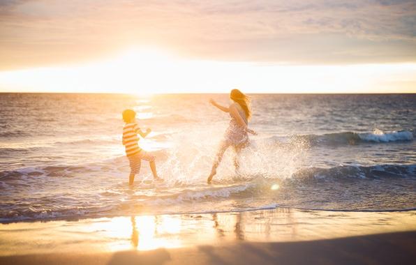 Picture sea, beach, sunset, mood, woman, boy