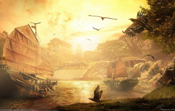Picture clouds, sunset, birds, river, ships, fantasy, sails, fantasy, CG wallpapers, Igor Staritsin, Ancient temple, Ancient …