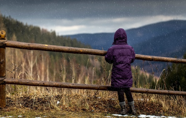 Picture rain, the fence, girl