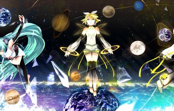 Picture stars, girls, earth, planet, art, Mars, Jupiter, guy, hatsune miku, Vocaloid, kagamine rin, Vocaloid, Neptune, …