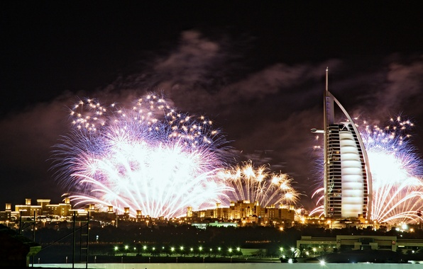 Picture night, city, the city, lights, fireworks, the hotel, Dubai, burj al arab, dubai, Burj al …