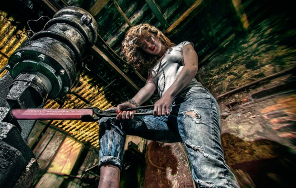 Picture girl, work, jeans, forge, mites