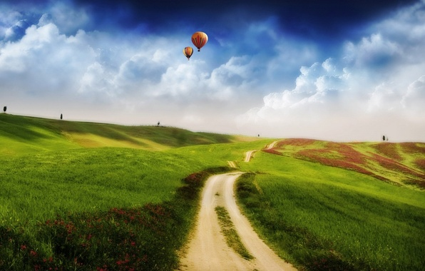 Picture field, clouds, hills, balls, Road, 157
