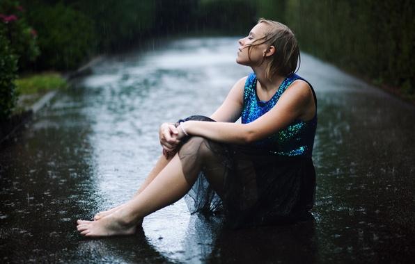 Picture road, girl, rain, mood
