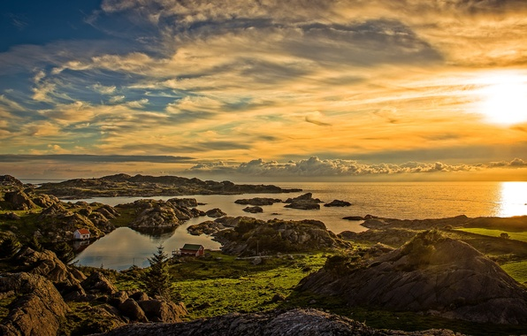 Picture clouds, landscape, sunset, nature, coast, panorama, houses