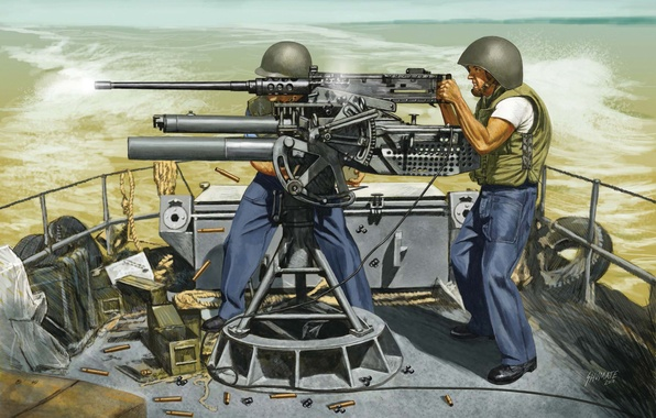 Picture fire, art, artist, soldiers, machine gun, USA, sea, system, M2 Browning, infantry, Browning, machine gun, …