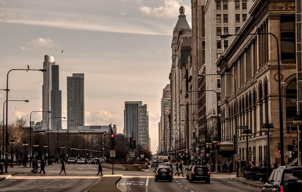 Picture machine, the city, movement, people, street, skyscrapers, Chicago, Illinois