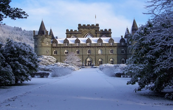 Picture winter, the sky, clouds, snow, trees, Park, castle, tower