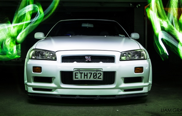 Picture white, graphics, photoshop, nissan, white, skyline, Nissan, gt-r, gtr, r34, skyline, JDM, v spec, vspec, …