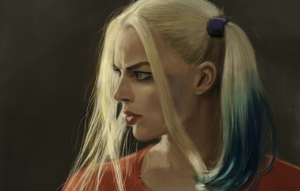 Picture girl, figure, art, blonde, braids, character, Harley Quinn, Harley Quinn, Margot Robbie, Margot Robbie, Suicide ...