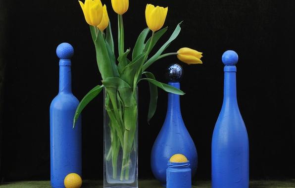 Picture flowers, Tulip, bottle, art, still life