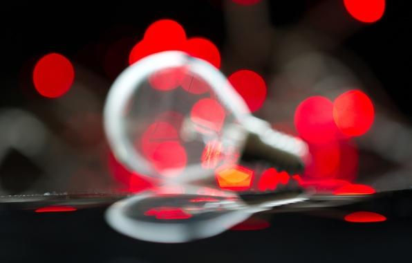 Picture light bulb, macro, light, lights, reflection, red, bokeh
