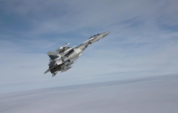 Picture the sky, aviation, Wallpaper, fighter, the plane, generation, jet, Russian, multipurpose, super-maneuverable, 4++, Russia, OKB, …