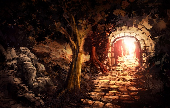 Picture the sun, light, trees, stones, art, masonry, arch, the tunnel, output, entrance