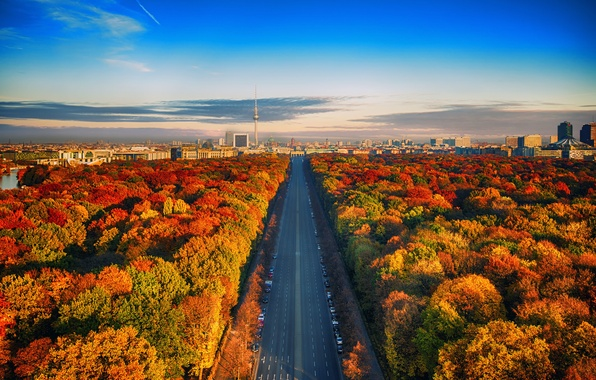 Picture road, autumn, the sky, clouds, Germany, horizon, Berlin, TV tower