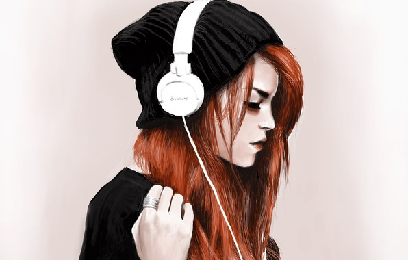 Picture girl, hat, headphones, piercing, ring, red