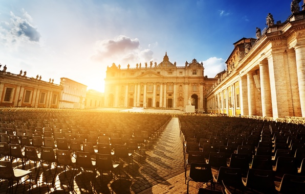 Wallpaper the sun sunset the city people chairs area rome italy cathedral italy rome - San pedro wallpaper ...