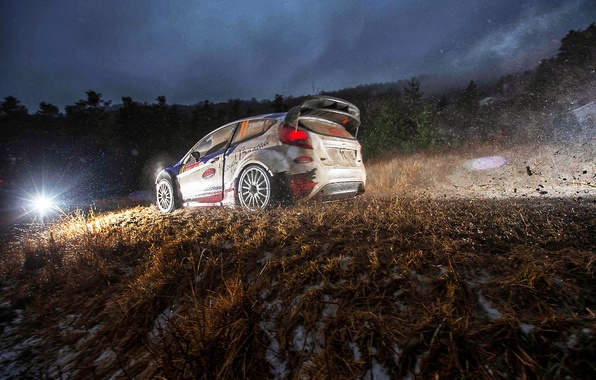 Picture Ford, The evening, Auto, Sport, Light, Race, Dirt, WRC, Rally, Rally, Fiesta