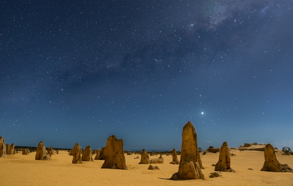 Picture sand, stars, night, posts, Australia, The Milky Way, night, stars, sand, Australia, Milky Way, Western …