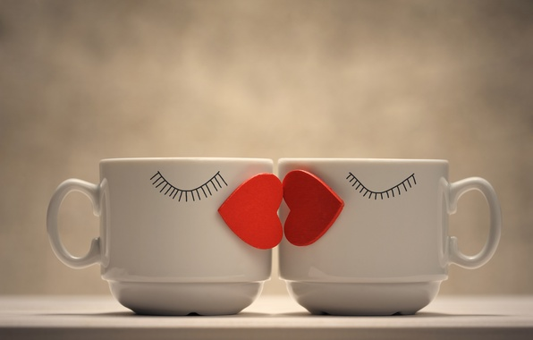 Picture love, creative, mood, two, positive, heart, pair, Cup, red, mugs, sponge, kiss, coffee, bokeh, wallpaper., …