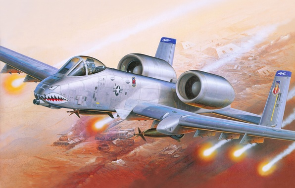 Picture aviation, war, missiles, art, attack, the plane, American, A-10