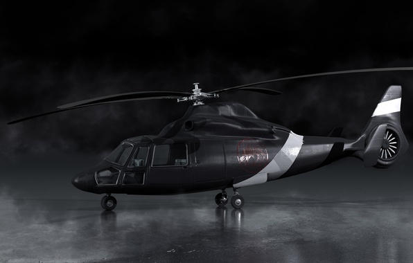 Picture black, smoke, art, helicopter, blades, render