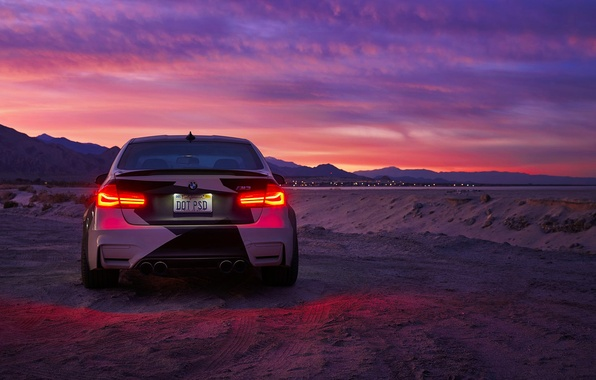 Picture BMW, Light, Clouds, Sky, Black, Sunset, White, Rear, And