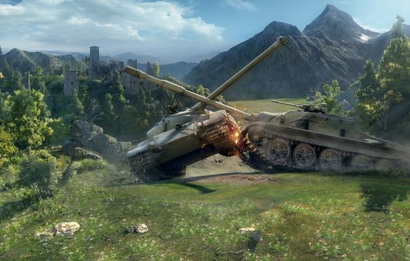 Picture tanks, physics, World of tanks, WoT, medium tank, world of tanks, Bat Chatillon 25 t, …