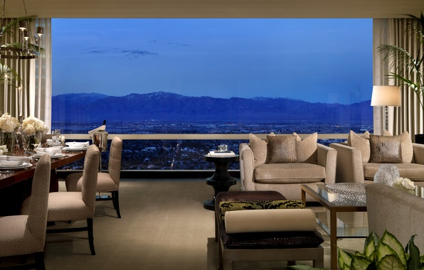 Picture landscape, mountains, table, Wallpaper, window, the hotel, Interior, wallpapers, hotel, las vegas, vip, trump, the …