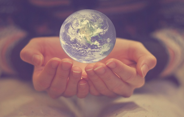 Picture earth, the world, planet, ball, hands, fingers