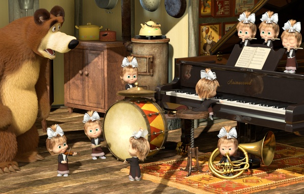 Picture cartoon, piano, pipe, drum, Masha and the bear, orchestra