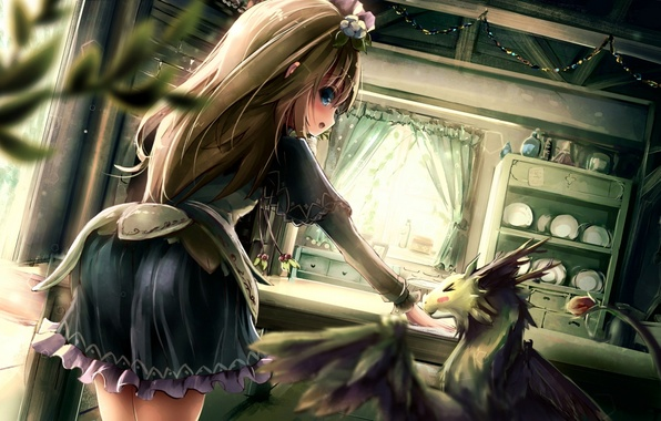 Picture girl, flowers, room, dragon, anime, art, dishes, apple228