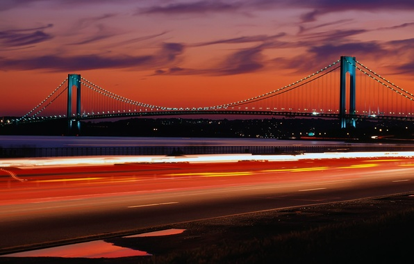 Picture road, light, landscape, night, bridge