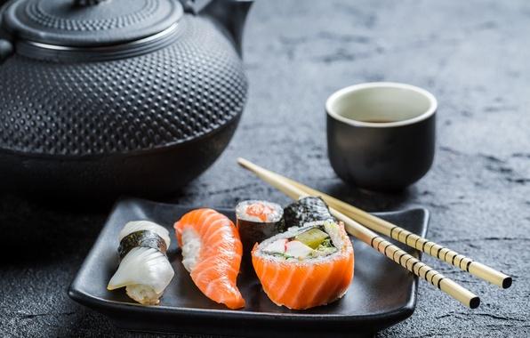 Picture sticks, kettle, rolls, sushi, sushi, rolls, Japanese cuisine, soy sauce, sticks, soy sauce, Japanese cuisine, …