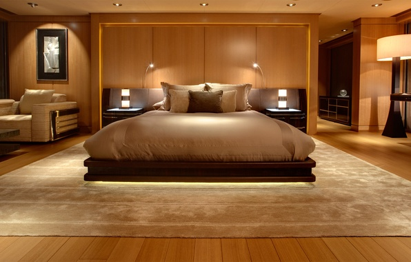 Picture carpet, bed, picture, chair, pillow, bed, bedroom, backlight.