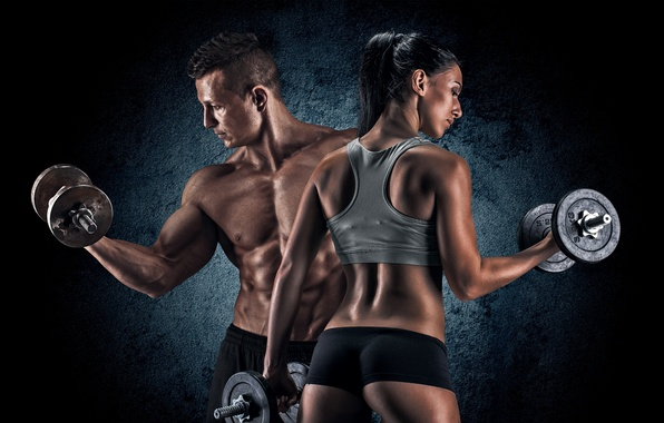 Picture girl, background, sport, Mike, figure, brunette, shorts, male, fitness, torso, muscles, dumbbells