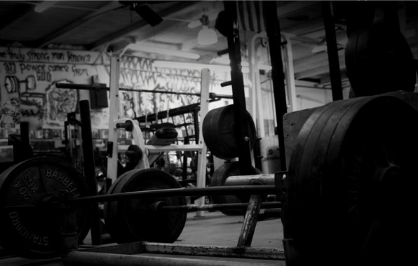 Picture black and white, hall, rod, gym, fitness
