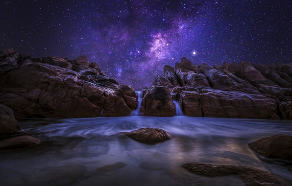 Picture the sky, stars, night, nature, stones, the ocean, rocks, the milky way, Western Australia