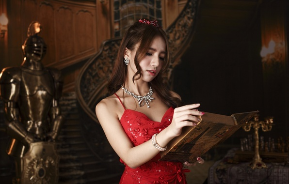 Picture girl, face, style, red, makeup, dress, book, Asian