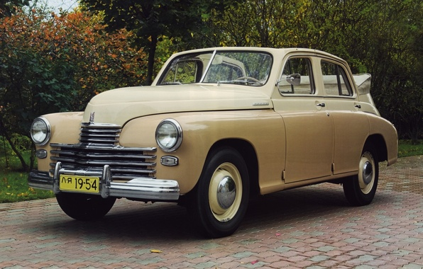 Picture background, Convertible, classic, Victory, beige, the front, GAS, M-20, GAZ, 1949, PR. victory