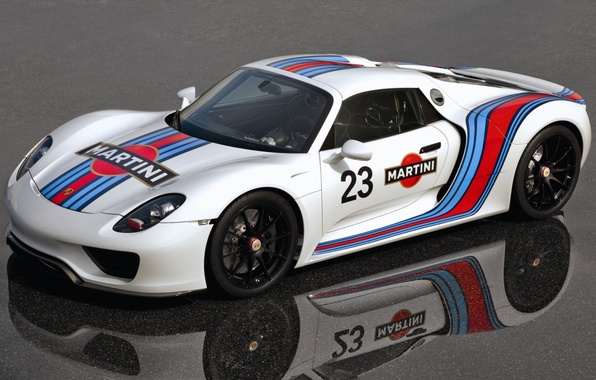 Picture white, reflection, Prototype, Porsche, Martini, supercar, Porsche, Spyder, 918, the front, Prototype, Spider, Martini