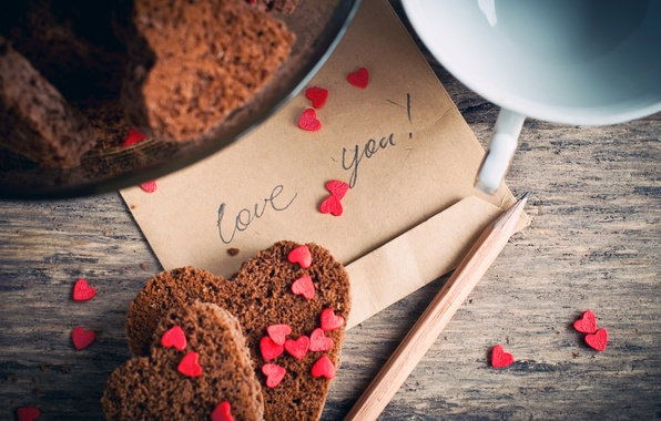 Picture the inscription, heart, cookies, Cup, hearts, pencil, cakes, the envelope, love you